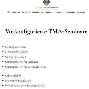 Vorkonfigurierte TMA-Seminare