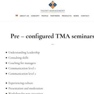 Pre – configured TMA seminars