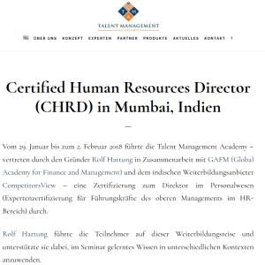 Certified Human Re­sourc­es Director (CHRD) in Mum­bai, Indien