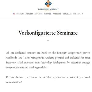 Pre-configured Seminars