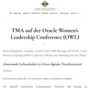 TMA auf der Oracle Women's Leadership Conference (OWL)