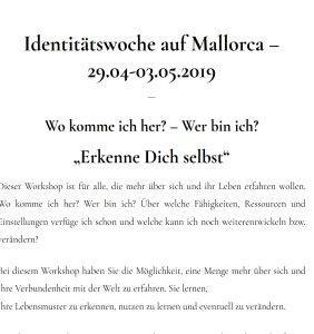 Identitätswoche auf Mallorca – 29.04 – 03.05.2019